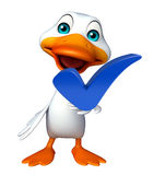 Cute Duck cartoon character with right sign Royalty Free Stock Photos