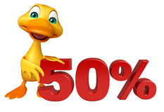 Cute Duck cartoon character with 50% sign Stock Images