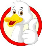 Cute duck cartoon giving thumb up Stock Photography