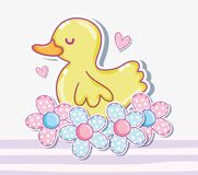 Cute duck cartoon royalty free illustration