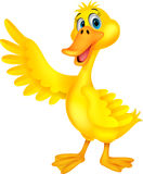 Cute duck cartoon waving Royalty Free Stock Photography