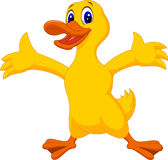 Cute duck cartoon waving Royalty Free Stock Images