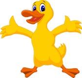 Cute duck cartoon waving Royalty Free Stock Images