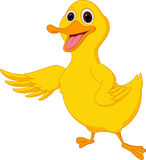 Cute duck cartoon waving Royalty Free Stock Photos