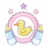 Cute duck cartoons with baby bottles. Vector illustration graphic design stock illustration