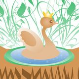 Cute duck with crown on nature greeting card Stock Images