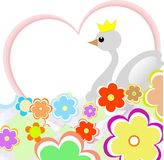 Cute duck in heart with flowers. greeting card Royalty Free Stock Image