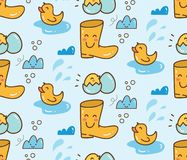 Cute duck toys with boots seamless background royalty free illustration