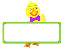 Cute duckling with banner. Royalty Free Stock Photo