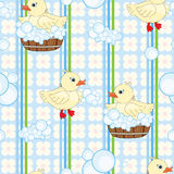 Cute ducks seamless background Stock Photo