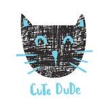 Cute dude cat. Vector illustration, textured cat and cute dude hand lettering text vector illustration