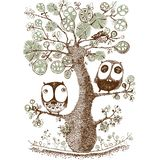Cute duo owls hang on the tree, Wildlife, Print, Vector. Cute, wild life vector illustration