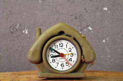 Cute dusty  house shape alarm clock Stock Photography