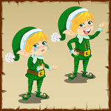 Cute dwarf in green with sad and happy emotions Royalty Free Stock Photography