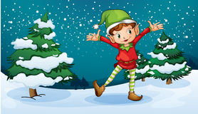 A cute dwarf near the pine trees Stock Image