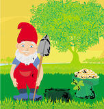 Cute dwarf with pot of gold coin Royalty Free Stock Images