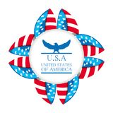 Cute eagle with american symbol emblem. Vector illustration Royalty Free Stock Photography