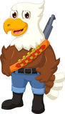 Cute eagle cartoon posing with rifle Stock Images