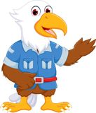 Cute eagle cartoon standing with smile and waving Stock Photo