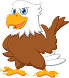 Cute eagle cartoon waving vector illustration