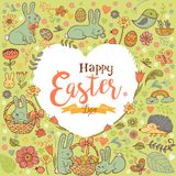 Cute Easter festive frame in the form of heart. Cute Easte festive frame in the form of heart for greeting card with holiday traditional symbols Royalty Free Stock Photography
