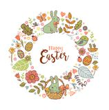 Cute Easter festive frame. Cute Easte festive frame for greeting card with holiday traditional symbols. in doodle style with Cute Easter rabbit in a basket on Royalty Free Stock Image