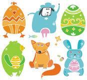 Cute Easter animals with eggs. Royalty Free Stock Images
