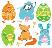 Cute Easter animals with eggs. Royalty Free Stock Photos