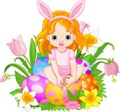 Cute Easter baby girl vector illustration