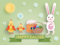 Cute Easter background in paper art style Royalty Free Stock Photography
