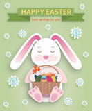 Cute Easter background in paper art style Royalty Free Stock Images