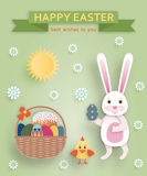 Cute Easter background in paper art style Stock Photos