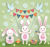Cute Easter background in paper art style Stock Photography