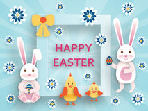 Cute Easter background in paper art style Royalty Free Stock Image