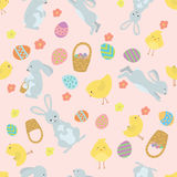 Cute Easter background with rabbits and chickens Stock Photography