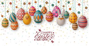 Cute Easter background with white bunny, chicken, eggs and flowers. Vector illustration. stock images