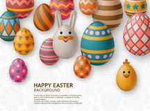 Cute Easter background with white bunny, chicken, eggs and flowers. Vector illustration. royalty free stock photography