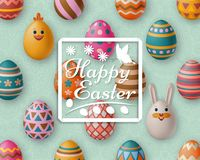 Cute Easter background with white bunny, chicken, eggs and flowers. Vector illustration. stock photo