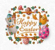 Cute Easter background with white bunny, chicken, eggs and flowers. Vector illustration. stock photography