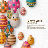 Cute Easter background with white bunny, chicken, eggs and flowers. Vector illustration. stock photos
