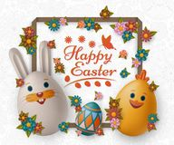 Cute Easter background with white bunny, chicken, eggs and flowers. Vector illustration. royalty free stock images