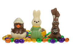 Cute easter bunnies and chick Royalty Free Stock Image