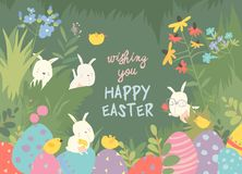 Cute Easter bunnies and easter egg. Happy holidays royalty free stock photo