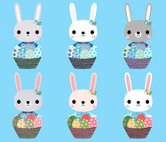 Cute Easter bunnies with eggs. Cute Easter bunnies in pink, grey and white colors with eggs for Easter hunt designs stock illustration