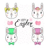 Cute Easter bunnies. Hand drawn vector portrait of a cute funny bunnies in hats, with ribbons, text Happy Easter, eggs. Isolated objects on white background royalty free illustration
