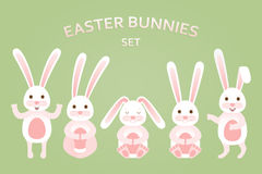 Cute Easter bunnies set in different poses Royalty Free Stock Images