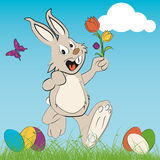 Cute easter bunny. With flowers, vector Royalty Free Stock Photography