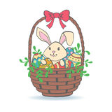Cute Easter Bunny in basket with eggs. Stock Images