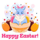 Cute Easter Bunny in basket with sweets and chocolate eggs. Confetti. Spring holiday. Vector illustration Stock Images