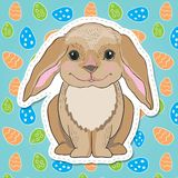 Cute easter bunny with big ears on decorative background Royalty Free Stock Image